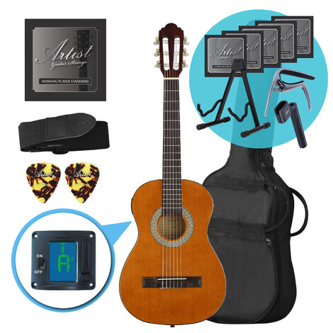 Artist CL12AM 1/2 Size Classical Guitar Ultimate Pack