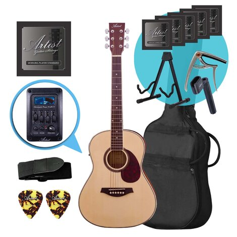 Artist LSP34EQ 3/4 Sized Beginner Acoustic Guitar+EQ Ultimate Pack