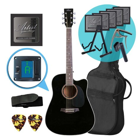 Artist LSPCBK Acoustic Guitar With Cutaway Ultimate Pack - Black