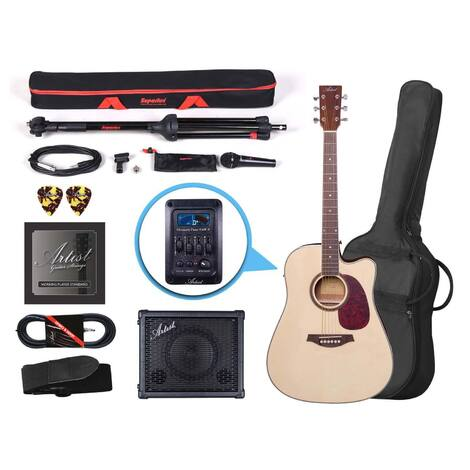 Artist LSPCEQNT Natural Acoustic Electric Guitar Buskers Pack