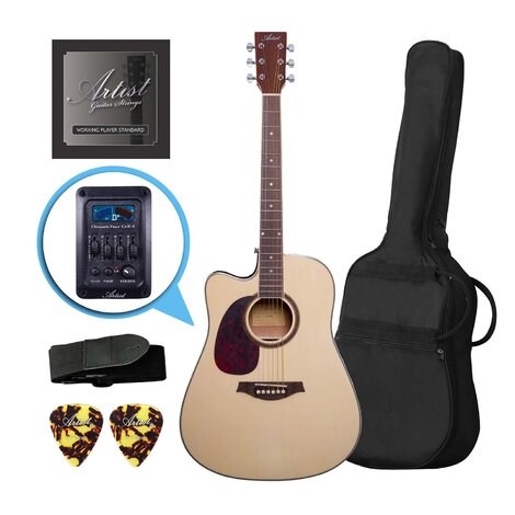 Customer Returned Artist LSPCEQNTL Left Handed Beginner Acoustic Electric Guitar