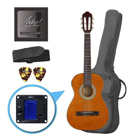 Factory 2nd Artist CL12AM 1/2 Size Classical Guitar Pack, Nylon String - Amber